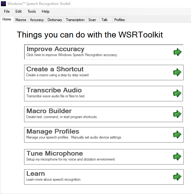WSRToolkit V.3 for Windows Speech Recognition Interface